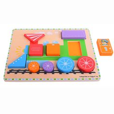 Fit the shapes into the correct slots and the train can be on its way! Designed to help aid dexterity and develop concentration, this carefully crafted puzzle also helps create a storyboard to hold a youngster's attention. Made from high quality, responsibly sourced materials. Consists of 10 chunky puzzle pieces. Ages 1 year and up.   http://shop.bigjigstoys.co.uk/products/productdetail/Chunky+Train+Puzzle/part_number=BB063/12465.0.4.3.69408.85176.0.0.0?pp=20
