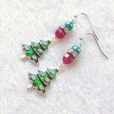 Holiday Dangle Earrings beaded in Red Green and Silver colors with Christmas Tree Charms Handicraft, Silver Color, Red Green, Dangle Earrings, Dangles, Charms, Sparkle, Christmas Tree, Beads