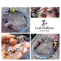 Mixed Metals Viking Knit Bracelet by Leah Hoffman Jewelry Design