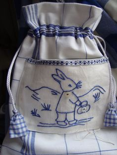 Hand embroidered tote bag in blue