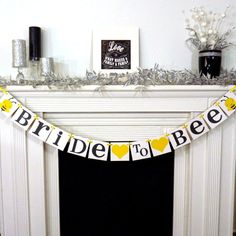 Bridal Shower Banner / Bee Themed / Bride To Bee Banner/ Wedding Garland/ Bachelorette Sign / Wedding Decor / Grey and Yellow