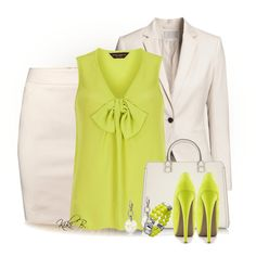 """""""Dorothy Perkins Lime Sleeveless Bow Front Top"""" by kiki-bi on Polyvore"""