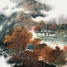 Landscape garden painting, mountain water, Chinese landscape. Autumn, red maple leaf,art