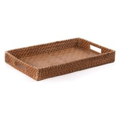 Rectangle Rattan Serving Tray In Brown