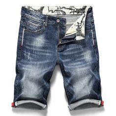 Men's Stretch Short Jeans Fashion Casual Slim Fit High Quality Elastic Denim Shorts Male Brand Clothes - Men's style, accessories, mens fashion trends 2020 Casual Wear For Men, Casual Jeans, Jeans Style, Stylish Jeans, Ripped Shorts, Denim Shorts, Men's Denim, Denim Leggings, Ripped Denim