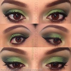 By Cristina Underwood. 1. Apply a light #green to the inner lid  2. #Blend a darker green to the center of the lid 3. Add a #forest green to the outer V  4. Apply a yellowish green to the tear duct  5. Add a #cream colored #highlight to the #brow bone 6. Apply the #gel #liner on top  7. Line the #waterline with the #NYX jumbo #eye pencil in #black bean  8. Blend a black #eyeshadow under the lower #lash line 9. Apply favorite #mascara and #falsies  ~voila~  #green #spring #bold #bright…