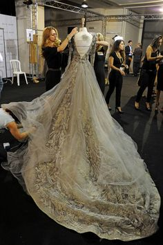 Haute couture gown, backstage at Elie Saab