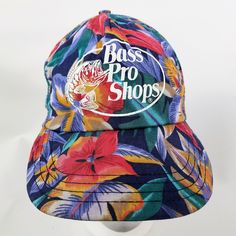 17746ffd Bass Pro Shops Snapback Hat Ball Cap Vtg Floral Hawaiian Tropical 80s Made  in the USA