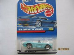 Hot Wheels 1998 #780 '58 Corvette by Mattel. $0.01. Collector Series. Guaranteed for Life. 1:64 scale. Die-cast metal & plastic parts. 1998 #780 '58 Corvette has aqua body, chrome bumper & pipes, no hood engine, hood operable, red HW tampos on rear, aqua Malaysia base and 5 Sps.