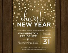 Custom New Years Eve Invitation. Cheers to the New Year. New Years Eve Party Invitation. Confetti Party Printable. NYE 2015 Party Invite.