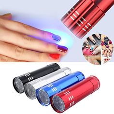 LKE 1pc Mini 9 LED uv Gel Curing Nail Dryer, LED Flashlight, Currency Detector, ...
