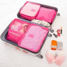 Save time and space while preparing your luggage with the Travel Packing Organizer Set. This set helps you keep everything organized, and protects your items from stains, wrinkles, and other damage while traveling. Women's Luggage & Travel Bags, Travel Packing, Luggage Packing, Asia Travel, Travelers Notebook, Packing Cubes, Travel Organization, Lingerie Organization, Handbag Organization