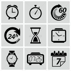 Clock and Time Icons ... alarm, black, calendar, circle, clock, clock face, collection, date, day, digital, element, equipment, fast, hour, icon, illustration, instrument of time, minute, moment, second, set, sign, stopwatch, symbol, time, timer, week, wrist watch