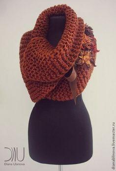 Купить Шарф осень-зима - коричневый, однотонный, шарф женский, шарф-воротник, шарф вязаный