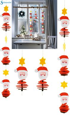 The Christmas felt chains are easy to make, only the Santa Claus . - The Christmas felt chains are easy to tinker, first design the Santa Claus face, then thread on all - Christmas Crafts For Kids, Xmas Crafts, Christmas Decorations To Make, Kids Christmas, Diy And Crafts, Christmas Wreaths, Christmas Ornaments, Holiday Decor, Christmas Campaign