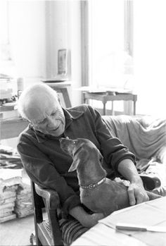"""""""Lump and Picasso meet for the first time. Mutual love."""" [Lump face to face with Picasso in his lap. Villa La Californie, 1957.] The Private World of Pablo Picasso, p. 3."""