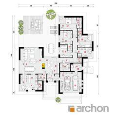 gotowy projekt Dom w kliwiach rzut parteru New House Plans, Small House Plans, Modern Architecture House, Architecture Design, Large Floor Plans, Minimal Home, Planer, Minimalism, New Homes