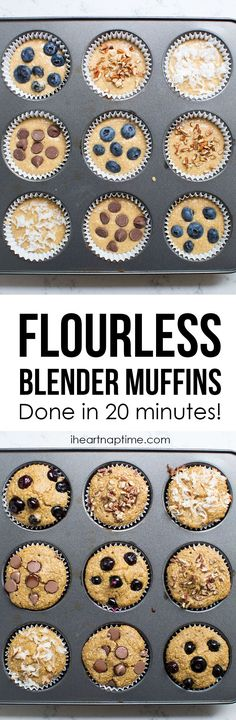20 Minute Blender Muffins - Under 100 calories! This recipe is so easy and the…