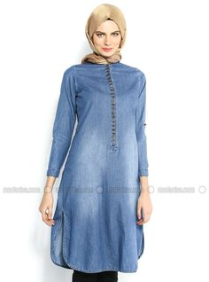 Frequently Button Front Tunic - Blue - Ekru