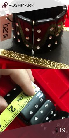 35541238f25 Black with rhinestone stretchy Bar III bracelet Brand new black stretchy  bracelet. Brand new.
