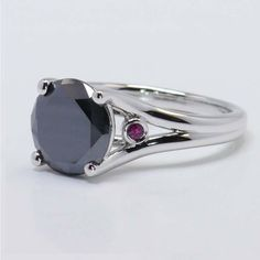 Ruby Accent Engagement Ring in White Gold | Image 03