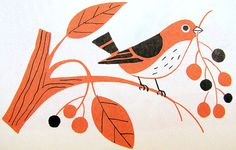 "Bird on Branch from ""The Fireside Book of Love Songs,"" illustrated by Alice and Martin Provensen, 1954."