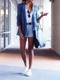 Shoes with blazer and shorts....