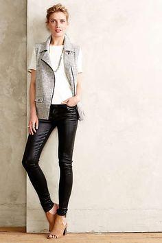 Vest white tee black leather pants fall 2014 anthropologie Estilo Feminino 19252558d1b85