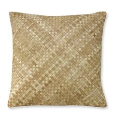 """Woven Leather Hide Pillow Cover, 22"""" X 22"""" #williamssonoma - this is very cool"""