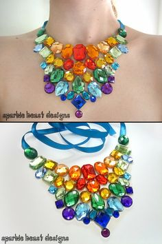 Rainbow Rhinestone Illusion Bib Necklace by Sparkle Beast Designs