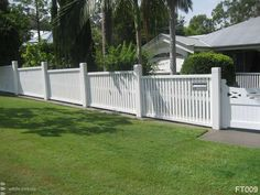 concrete footing level with lawn so no weeds under fence and easy to mow. Pillars too thick though. Queenslander House, Weatherboard House, Garden Gates And Fencing, Timber Fencing, Backyard Fences, Front Yard Landscaping, Pallet Gate, White Fence, White Picket Fences