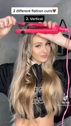 Curly Hair Tips, Easy Hairstyles For Long Hair, Curled Hairstyles, Flat Iron Hairstyles, Teen Hairstyles, Hair Curling Tips, Curl Hair With Straightener, Straightening Hair Tips, Hair Curling Tutorial
