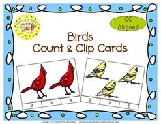 These cards are terrific for Math Centers – A Hands-On Activity your kiddos will love!  Birds Clip Cards allow learners to practice counting. WAIT, THERE'S MORE!!! More cards that is. Now, you have 20 clip cards! Birds Count & Clip Cards help your little tykes practice counting from 1 to 20!!!