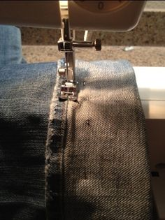 How to hem jeans to keep original hem.