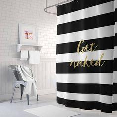 Get Shower Curtain Striped Gold Bathroom Decor Home Long