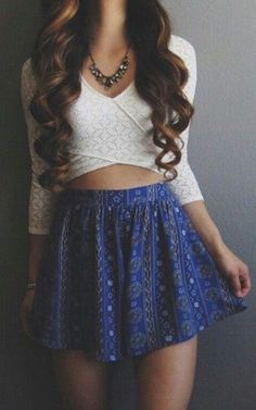 #summer #fashion / longsleeve + geometric print skirt
