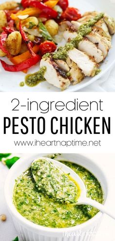 This pesto chicken is made with just 2 ingredients! Juicy grilled chicken breast and a beautiful, flavorful, creamy pesto sauce. Enjoy this family-friendly, low-carb, gluten-free dinner in under 20 minutes! Recipe Using Chicken, Yummy Chicken Recipes, Yum Yum Chicken, Turkey Recipes, Easy Dinner Recipes, Great Recipes, Creamy Pesto Sauce, Easy Weekday Meals, Make Ahead Lunches