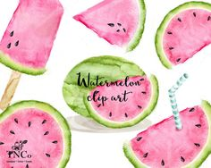 watermelon clipart watercolour watermelon by tinkerncodigital