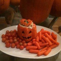 Halloween hors'doeuvre- hummus & bell pepper :)