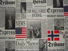 Wall Street Journal Newspaper PRINT Fabric craft supplies 100% cotton upholstery curtain, cushions, bed spread fabric - By the Yard