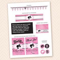 Girls Barbie Birthday Party Invitation Thank You by LLPapergoods, $30.00