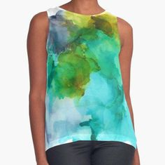 Loose Fitting Women's Tank Top Flowing Silky Feel Colorful Wearable Art Office Attire Summer Contrast Tank Boho Tank Aqua Blue Purple White by therawcanvas on Etsy