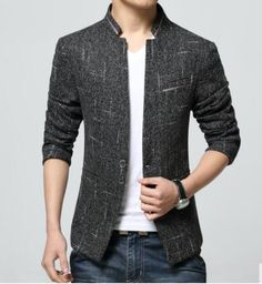 Top Fashion Korean Style Mens waist length stand collar Casual Blazers Coat Male Slim Fit Suit Jackets Overcoat Size M-4XL