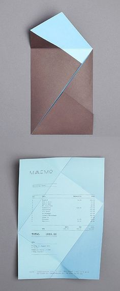folding receipt, Maaemo identity by Bureau Bruneau graphic design; It can be folded flat to be posted through a door & a design could be put on the outside to entice people to open it up. Graphisches Design, Buch Design, Layout Design, Print Design, Flat Design, Cv Inspiration, Graphic Design Inspiration, Identity Design, Brochure Design