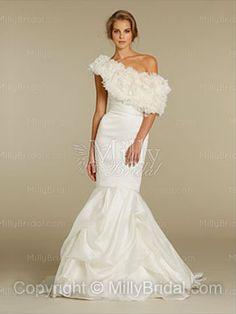Trumpet/Mermaid Strapless Satin Organza Sweep Train Ruffles White Wedding Dresses