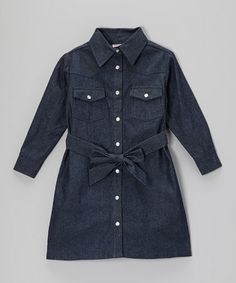 Look what I found on #zulily! Navy Denim Blue Bird Dress - Infant, Toddler & Girls #zulilyfinds