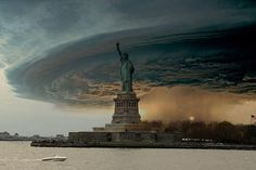 Brooklyn tornado as it hits the Statue of Liberty