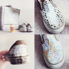 Something Monumental - Map shoes DIY