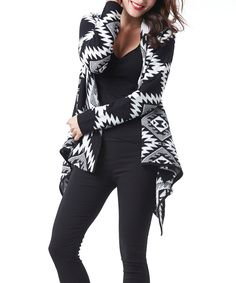 Look at this #zulilyfind! Simply Couture Black Geo Sidetail Open Cardigan by Simply Couture #zulilyfinds