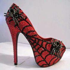 Red Rhinestone Spiderweb Heels